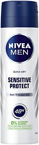 NIVEA MEN Sensitive Protect Deo Spray im 6er Pack (6 x 150 ml), Antitranspirant für sensible Haut, Deodorant mit 48h Schutz