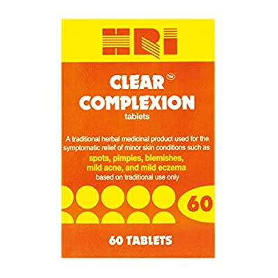 HRI Clear Complexion. Burdock Root and Blue Flag Rhizome Tablets. to Relieve Mild Skin Conditions - Spots, Pimples, Blemishes, Mild Acne, Mild Eczema. 60 Tablets
