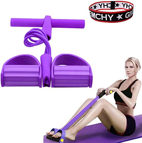 BTHER Upgrade 4 Tubes Multifunktions-Leg-Exerciser- Sit-up Bodybuilding Expander - Elastische Zugseil Trainingsgeräte- Pedal Resistance Band- Lila