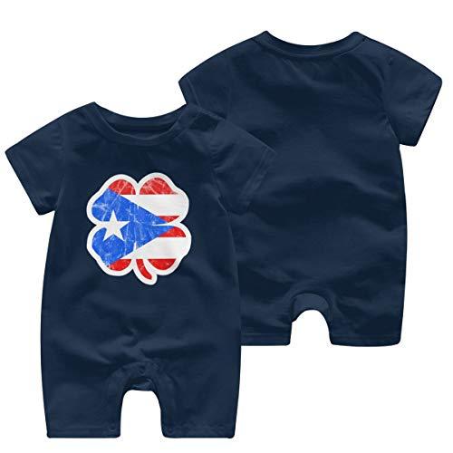 Irish Puerto Rican Pride Shamrock Puerto Rico Flag Baby Short Sleeve Jumpsuit Baby Short Shirt Baby Romper Navy