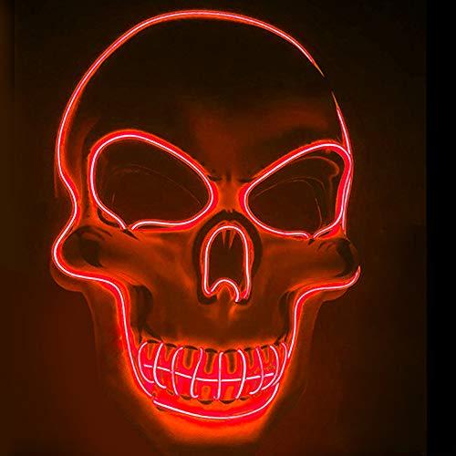 Mikepie Maschera Halloween LED, Maschere Bagliore da Clown, Carnevale Costume Cosplay Party (Batteria Non Inclusa)(Rosso)