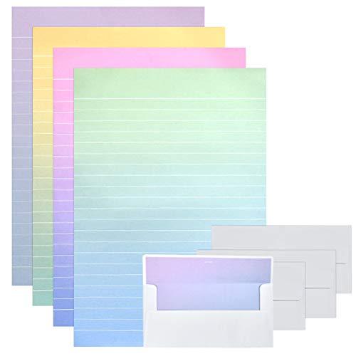 YOTINO Lot de 48 Papiers à Lettre Lignés avec 24 Enveloppes de Couleur Dégradé, Set de Lettre avec Enveloppe pour Invitations d'Affaires, Félicitations, Lettres d'Amour (4 couleurs)