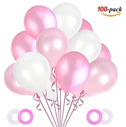 JOJOR 100 Stück Luftballons Rosa Weiß Pink,Helium Luftballons Rosa, Perle Latex Ballons Helium für Hochzeit Geburtstag und Mädchen Taufe...
