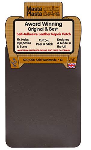MastaPlasta - Parche Autoadhesivo para reparación de Cuero. XL: 28 x 20 cm. Elige EL Color Kit de Primeros Auxilios para sofás, Asientos de Coche. Arregla Agujeros, rasgaduras, Quemaduras, Manchas
