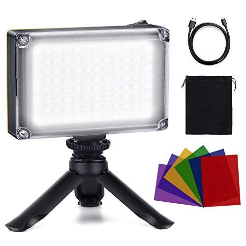 Luz LED Fotográfica, Luz de Video LED con Soporte 6 Filtros de Colores, Ultrabrillante 3200-5400K Regulable 1/4 de Pulgada Rosca Montura, Lámpara de Vídeo para Cámaras DSLR, Vlog, Youtuber, TikTok