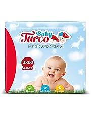 Baby Turco Islak Havlu Mendil 3'Lü Paket, 180 Yaprak, Plastik Kapaklı
