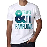 Hombre Camiseta Vintage T-Shirt Gráfico and Travel To Pamplona Blanco