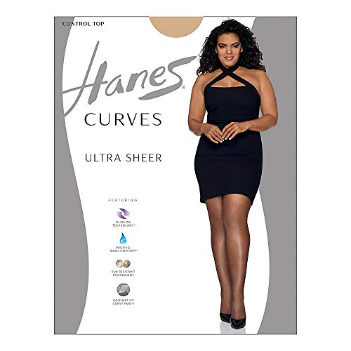 Hanes Silk Reflections Women's Plus Size Curves Ultra Sheer Pantyhose HSP001, Nude, 3X/4X