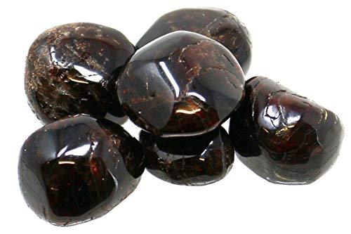 100 g Granat Trommelsteine im Samtbeutelchen, medium, 4 bis 8 Steine tiefrot Granat