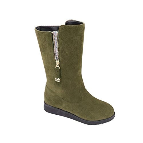 Women Boots  ღ Ninasill ღ Exclusive Boots Flat Winter Warm Snow Shoes (9.5  Army Green)