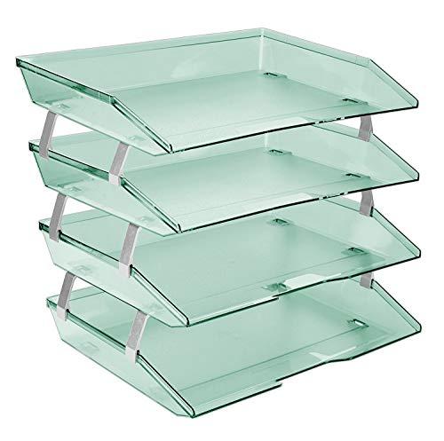 Acrimet Facility 4 Tier Letter Tray Side Load Plastic Desktop File Organizer Clear Green Color