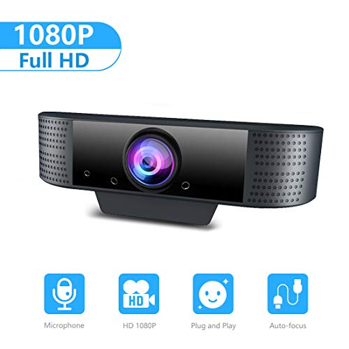 Webcam pour PC Windows 10,MHDYT Full HD 1080P Webcam USB Streaming avec Grand Angle,Auto fous pour Skype, FaceTime, Hangouts, PC/Mac/Portable/Tablette/XBox One