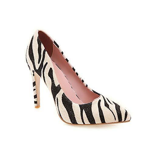 DEAR-JY Zapatos De Tacón para Mujer,Patrón De Cebra Sexy De 10 Cm Señaló Zapatos De Corte Court,Fiesta De Bodas Clubbing Vestido De Noche Bombas De Tacón De Alto Tallas Grandes,Beige,37 EU/3.5 UK
