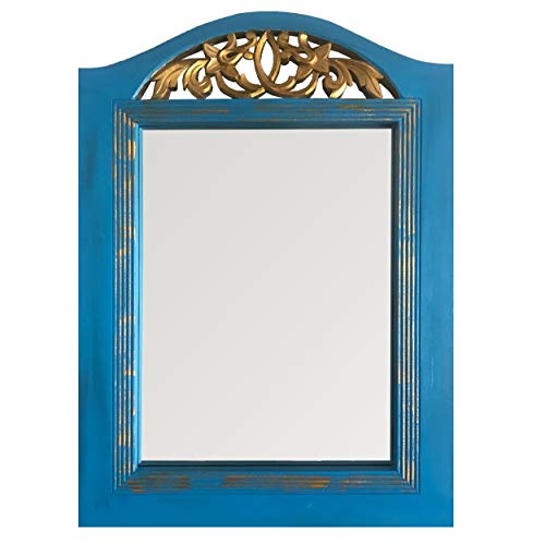 DecorShore French Style Blue Patina Large Vanity Mirror | Hand Carved Wooden Framed Decorative Wall Mirror | Large Mirror for Wall Decor, Bedroom, Living Room | Blue Patina