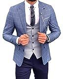 Traje formal de cuadros para hombre de 3 piezas para graduación, novios, tuxedos, boda (blazer + chaleco + pantalones) - Beige - 50US/UK & 60EU-Chaqueta,44-Pantalones