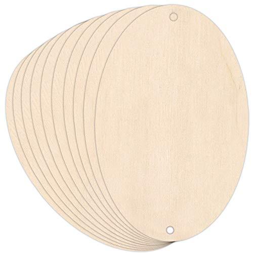 Creative Deco 10 x Kleine Ellipse-Anhängers aus Sperr-Holz | 10 x 6,5 cm | Unlackierten Form-Scheiben | Perfekte Ausschnite für Bemalen, Dekorieren, Geschenk & Decoupage