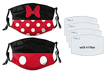 2Pcs Cute Dis-ney Minnie Mouse Face Mask Dis-ney Mickey Mouse Face Mask Reusable Washable Balaclavas with 4 Pcs Filters