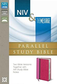 NIV, The Message, Parallel Study Bible, Leathersoft, Pink: Two Bible Versions Together with NIV Study Bible Notes