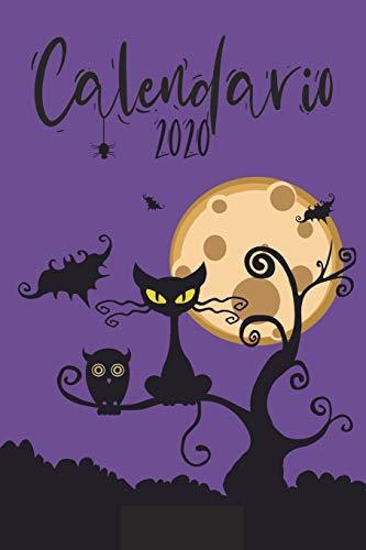 Calendario 2020: Grande Calendario completo para todo el año, cada día por separado, planificador mensual y diario, cuaderno, cubierta violeta de Halloween (420 sitios, 6 x 9)