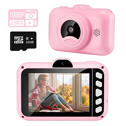 SUZIYO Kids Selfie Camera Gifts for Boys Girls, 1080P 3.5inch HD Digital Camcorder with Mp3 for 3-9 Years Old Children Birthday Christmas, Best Perschool Toys for Toddlers (with 32G TF Card,Pink)