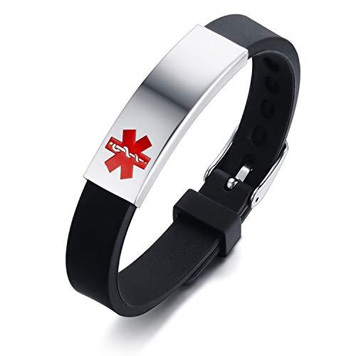 Flongo Pulsera de Identificación Médica Cruz, Placa Personalizada de Acero Inoxidable Brazalete Alerta Médica para Alergias Pulsera de Silicona Negra
