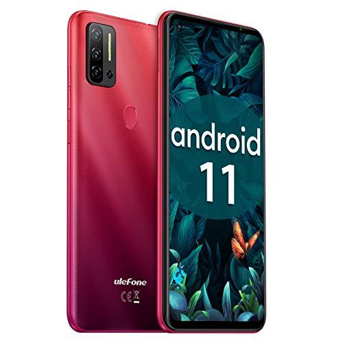 Ulefone Note 11P Smartphone Libre, Android 11 4G Octa-Core, 8GB+128GB (SD 2TB), Pantalla HD+ 6.55' DotDisplay Teléfono Móvil, Cámara Cuádruple 48 MP con IA, Batería 4400 mAh, Dual SIM, Tipo C -Rojo
