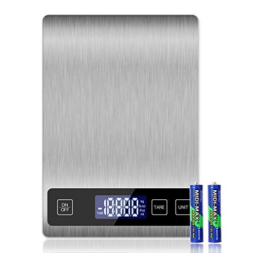 Amazon Brand – Eono Bilancia digitale da cucina, in acciaio inossidabile, pesa in grammi e once, 10 kg / 2 g , garanzia 15 anni