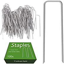 AAGUT Garden Stakes Pins Landscape Staples 100 Pack 6 Inch 11-Gauge Galvanized Lawn Stake for Dog Fence, Weed Barrier Fabric, Ground Cover, Irrigation Tubing Soaker Hose, Chicken Wire