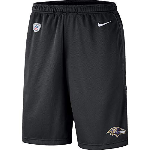 Nike NFL Boys Youth 8-20 Sideline Coaches Performance Dri-Fit Shorts (Baltimore Ravens, Youth X-Large 18-20)