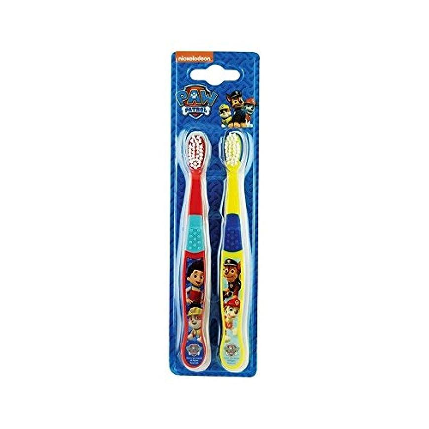 混乱縁剥離1パックツイン歯ブラシ2 (Paw Patrol) - Paw Patrol Twin Toothbrush 2 per pack [並行輸入品]