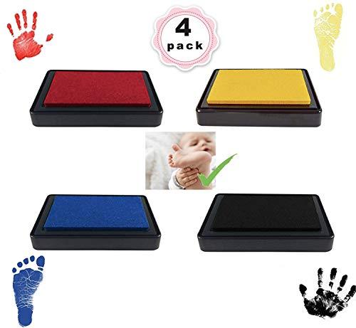 Baby Stempelkissen,Baby Hand Fußabdruck-set,Baby Fuß- oder Hand-Abdruckset Set,leicht abzuwaschen,4 Farbenset (schwarz + rot + blau + Gelb)