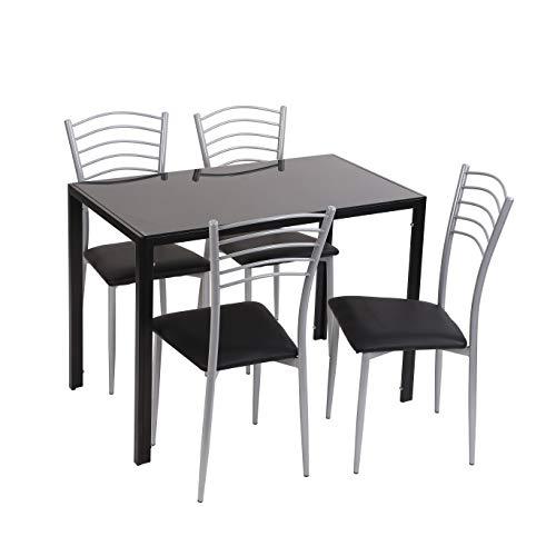 Conjunto de Mesa y sillas de Cocina (105x60x75) (Negro-Negro)