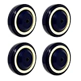 """SY America 4"""" 4 Pack Polyurethane Stepped and Full Tread Face w/Double Ball Bearing Shopping Cart Wheel 1000 lbs Total Capacity (4 inches Pack of 4, Bore Dark Blue Beige Stepped Face)"""