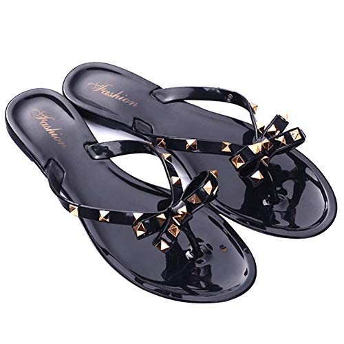 Cutogain Flache Jelly Sandalen, Hausschuhe, Flip-Flops, Hausschuhe, Mode Flache Jelly Sandalen Flip-Flops Hausschuhe Bowknot für Frauen Summer Beach