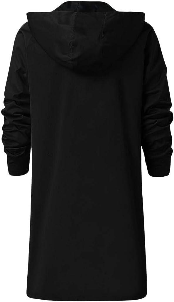 Stoota Men's Fashion Solid Color Zipper Up Hoodie Jackets, Warm Wind Breaker Longline Hooded Down Coat Plus Size S-5XL