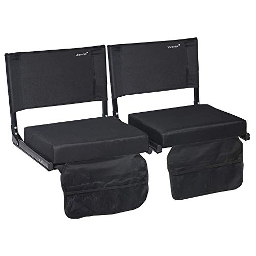 Sheenive Stadium Seats for Bleacher - Wide Padded Cushion Stadium Seats Chairs for Outdoor Bleachers with Leaning Back Support and Shoulder Strap, Perfect for NFL and Baseball Games, 2 Pack, Black