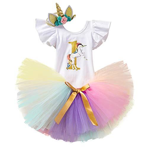 NNJXD Mädchen Einhorn Blume Regenbogen Tutu 1. Geburtstag 3 Stück Outfits Strampler +Rock+ Gold Stirnband Größe (1) 1 Jahre Gelb&Violett
