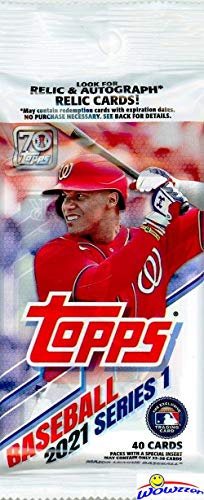 2021 Topps Series 1 MLB Baseball EXCLUSIVE HUGE Factory Sealed Retail JUMBO FAT PACK with 40 Cards! Loaded with Rookies & Cool Inserts! Look for Autos, Relics & Parallels! 70th Anniversary! WOWZZER!