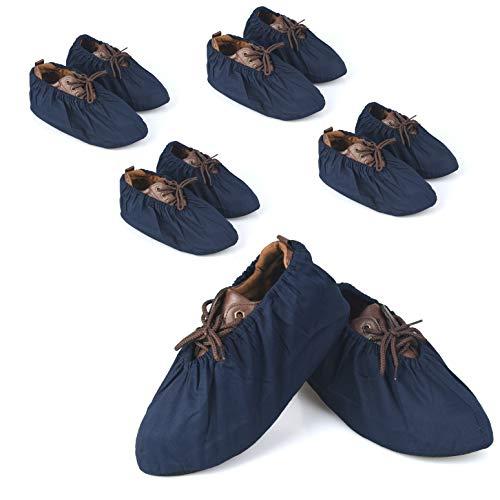 5 pares de fundas de zapatos antideslizantes, lavables, reutilizables, de algodón y poliéster para cubrebotas gruesas del hogar, color azul marino