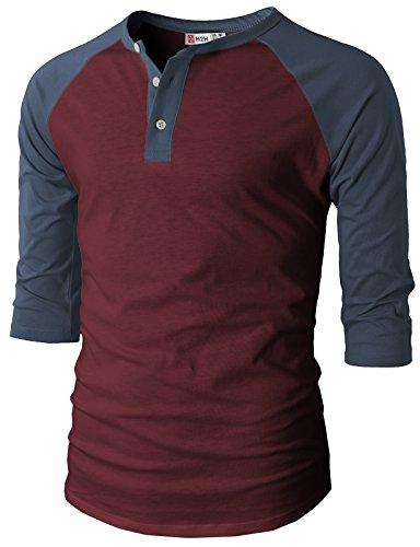 H2H Mens Casual Slim Fit Raglan 3/4 Sleeve Henley T-Shirts WINENAVY US XL/Asia 2XL (CMTTS0174)