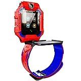 Reloj Inteligente Niño Niña, Smartwatch Anti-Perdida, Pulsera Móvil 360°, Llamada Emergencia SOS, Cámara Dual, Ubicación LBS, IP67, Android iOS. (Rojo Y Azul)