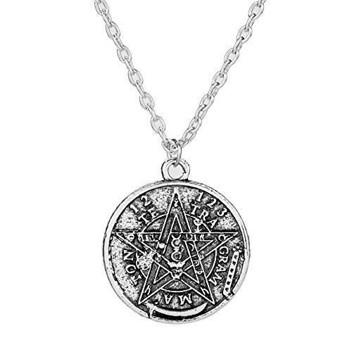 XIUWOUG Antike Tetragrammaton Pentacle Pentagram Anhänger Charm Halskette Wicca Talisman Pagen Amulett Schmuck