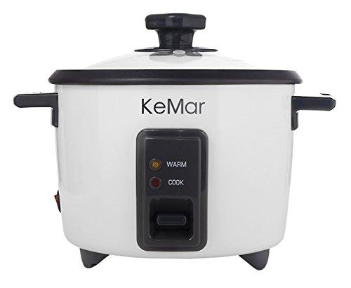 KeMar Kitchenware Reiskocher 1,4 L, Dämpfeinsatz, 500W, Glasdeckel, Warmhalten