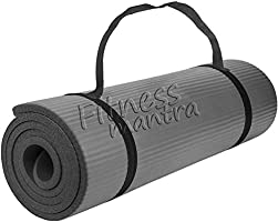 Fitness Mantra® Yoga Mat with Carrying Strap for Gym Workout and Yoga Exercise with 6mm Thickness, Anti-Slip Yoga Mat...