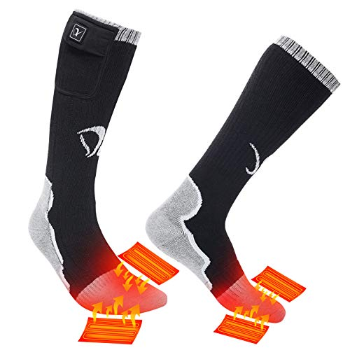 Heated Socks for Men Women, Electric Rechargeable Battery Heating Socks for Winter Sports Arthritis Raynaud Winter Snow Ski Hunting Camping Hiking Riding Warm (Black/White 1, S)
