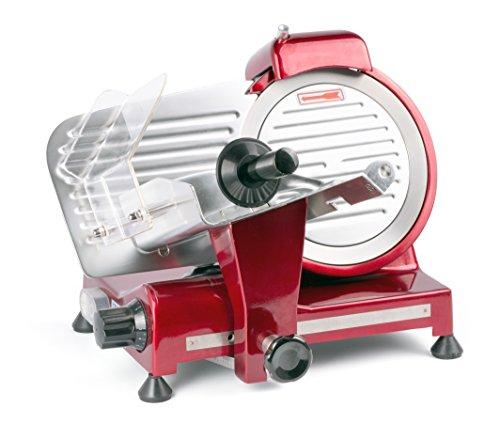 HENDI Aufschnittmaschine, Messerdurchmesser: 220mm, rote Sonderedition, Allesschneider, Stufenlos einstellbare Schnittstärke (0-13mm), 230V, 280W, 440x420x(H)350mm, Rot, Aluminium, Edelstahl