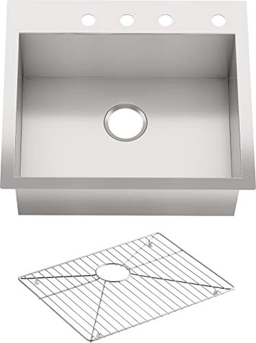 "KOHLER Vault 25"" Single Bowl 18 Gauge Stainless Steel Kitchen Sink with Four Faucet Holes K-3822-4-NA Drop-in or Undermount Installation, 9 Inch Bowl"