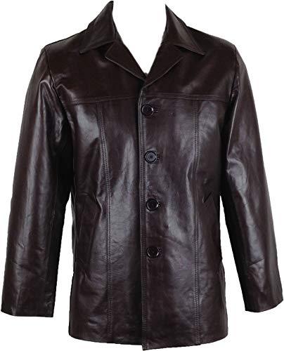 UNICORN Hombres Genuino real cuero chaqueta Estilo clásico Chaquetón Blazer traje Marrón #AD