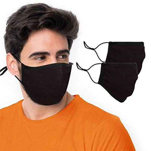 BLU HORN face mask with Nose wire, Pocket for Filter and Adjustable Loops with various sizes (Large(Pack of 2), Black)