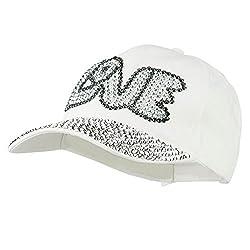 White Rhinestone Jeweled Baseball Cap
